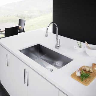 Exclusive Heritage 32 x 19 Single Bowl Undermount Stainless Steel Kitchen Sink (2 options available)