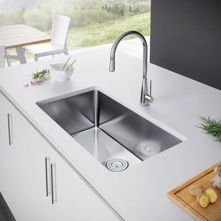 Exclusive Heritage 32 x 19 Single Bowl Undermount Stainless Steel Kitchen Sink