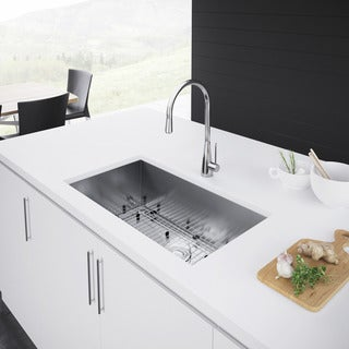 Exclusive Heritage 33 x 19-inch Single Bowl Undermount 16 Gauge Stainless Steel Kitchen Sink (3 options available)