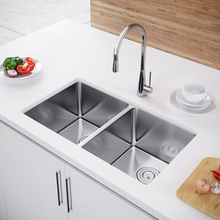 Exclusive Heritage 33 x 20 Double Bowl 50/50 Undermount Stainless Steel Kitchen Sink (2 options available)