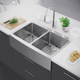 Exclusive Heritage 33 x 22 Double Bowl 50/50 Stainless Steel Kitchen Farmhouse Apron Front Sink