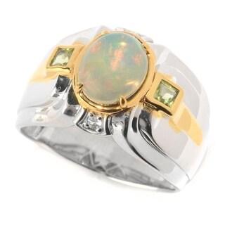 Michael Valitutti Palladium Silver Ethiopian Opal, White Sapphire & Peridot Men's Ring