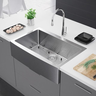 Exclusive Heritage 33 x 22 Single Bowl Stainless Steel Kitchen Farmhouse Apron Front Sink - Silver