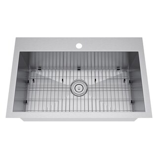 Exclusive Heritage 33 x 22-inch Single Bowl Top Mount Stainless Steel Kitchen Sink (3 options available)