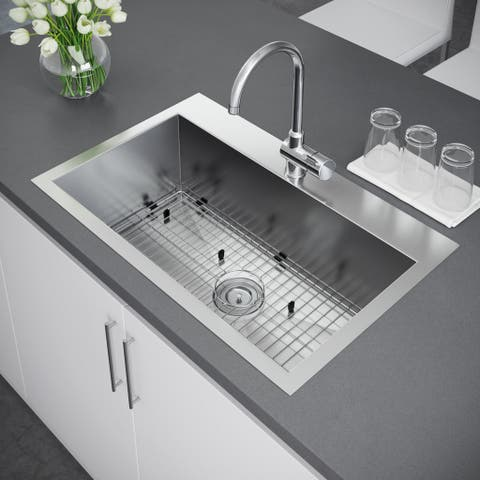 Exclusive Heritage 33 x 22-inch Single Bowl Top Mount Stainless Steel Kitchen Sink