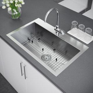 Exclusive Heritage 16-gauge 33 x 22-inch Single Bowl Top Mount Drop-in Stainless Steel Kitchen Sink