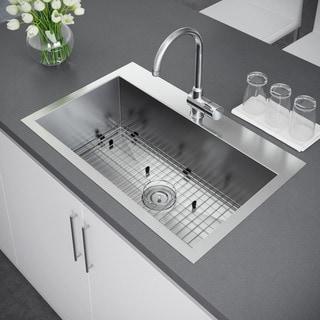 drop in kitchen sink. Exclusive Heritage 33 X 22-inch Single Bowl Top Mount Stainless Steel Kitchen Sink Drop In \