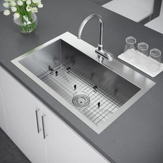 Drop in kitchen sinks for less overstock exclusive heritage 33 x 22 inch single bowl top mount stainless steel kitchen sink workwithnaturefo