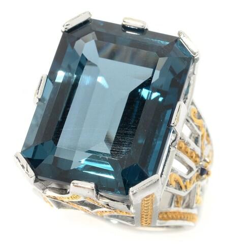 Michael Valitutti Palladium Silver Emerald Cut London Blue Topaz & Blue Sapphire Ring