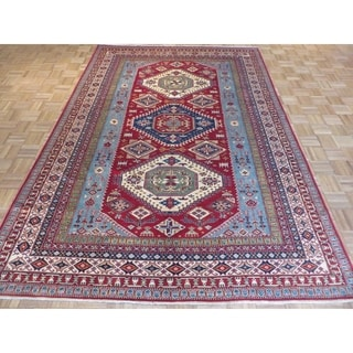 Oriental Multicolored Wool Hand-knotted Super Kazak Rug (7'1 x 9'8)
