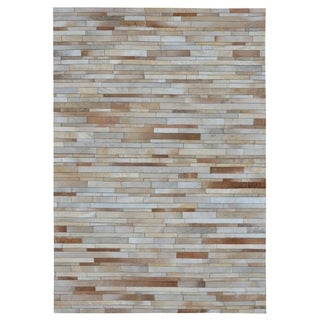 """Hand-stitched Tan Stripes Cow Hide Leather Rug - 7'10"""" x 9'10"""""""