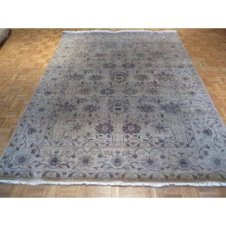 Oushak Grey Wool Oriental Hand-knotted Rug (8'1 x 10'3)