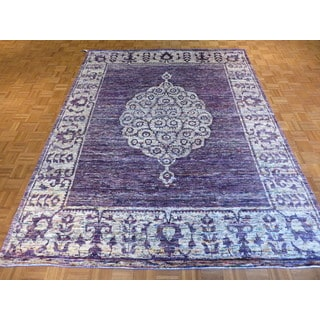 Oriental Purple Bamboo Silk Hand-knotted Rug (8'1 x 10'8)