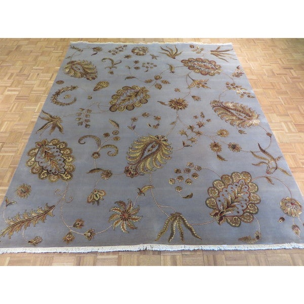 Shop Agra Light Blue Woolsilk Hand Knotted Oriental Rug 84 X 9