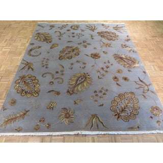 Agra Light Blue Wool/Silk Hand-knotted Oriental Rug (8'4 x 9'11)
