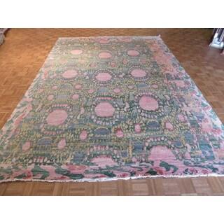 Green Wool Hand Knotted Sari Silk Ikat Oriental Rug (9u00279 X 14