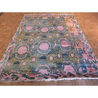 Oriental Multicolored Sari Silk Hand-knotted Ikat Rug (7'7 x 9'10)
