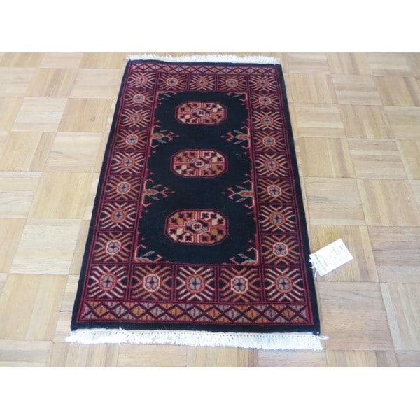 Bokara Black Wool Oriental Hand-knotted Rug - 1'10 x 3