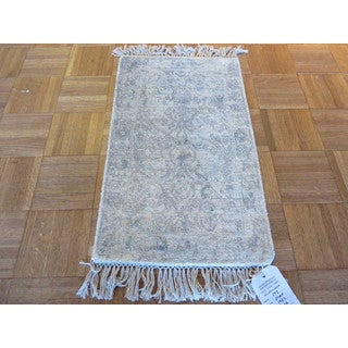 Tabriz Oriental Ivory Rayon from Bamboo Hand-knotted Area Rug (1' x 2')