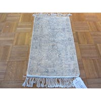 Tabriz Oriental Ivory Rayon from Bamboo Hand-knotted Area Rug - 1' x 2'