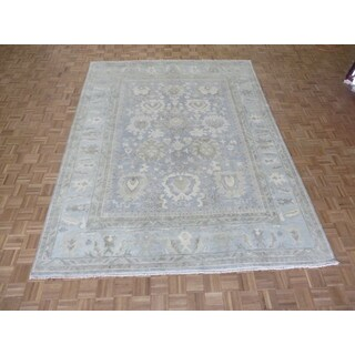 Hand Knotted Silver Blue Sultanabad Oushak with Wool Oriental Rug (9 x 11'10)