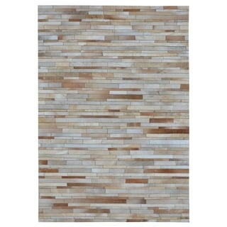 Hand-stitched Tan Stripes Cow Hide Leather Rug (5' x 8')