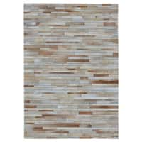 """Hand-stitched Tan Stripes Cow Hide Leather Rug - 4'10"""" x 7'10"""""""