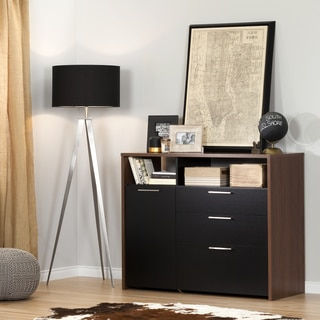 South Shore Tasko Walnut Brown Black Laminate Storage Desk
