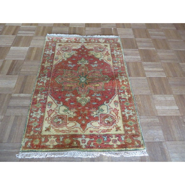 Hand Knotted Heriz Wool Fine Persian Oriental Area Rug: Shop Serapi Heriz Rust Red Wool Hand-knotted Oriental Rug