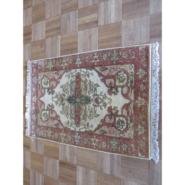 Fine Round Persian Bidjar Area Rug Hand Knotted Wool And: Shop Fine Serapi Heriz Ivory Hand-knotted Wool Oriental