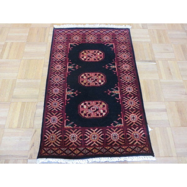 Bokara Oriental Black Wool Hand-knotted Area Rug - 1'11 x 3'