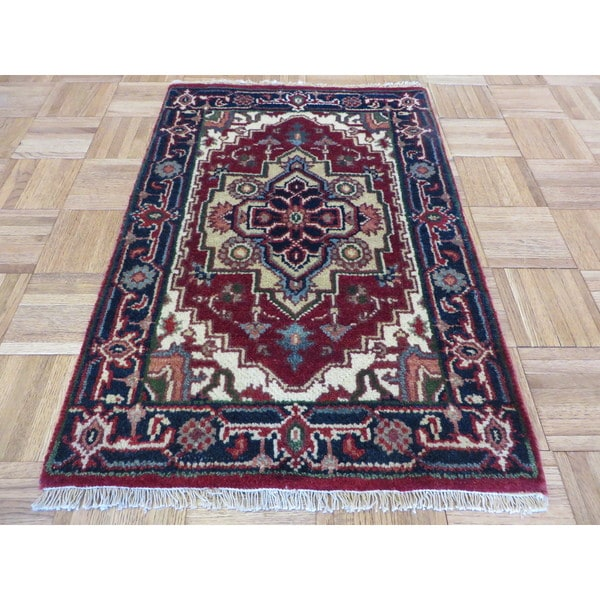 Hand Knotted Heriz Wool Fine Persian Oriental Area Rug: Shop Serapi Heriz Rust Red Hand-knotted Wool Oriental Rug