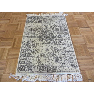 Tabriz Oriental Ivory Rayon from Bamboo Hand-knotted Area Rug (2' x 3')