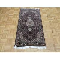 Mahi Tabriz Oriental Black Wool and Silk Hand-knotted Area Rug - 2'7 x 4'8