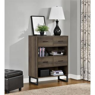 Ameriwood Home Candon Sonoma Mocha Oak Bookcase with Bins