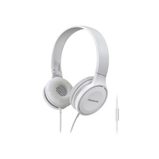 Panasonic RP-HF100M-W Lightweight On-Ear Headphones with Microphone and Controller (White)