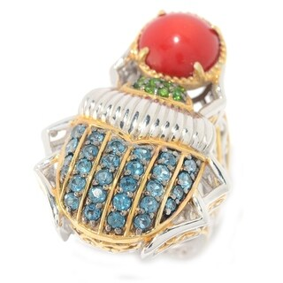 Michael Valitutti Palladium Silver Red Coral, London Blue Topaz and Chrome Diopside Multi Gemstone Scarab Beetle Ring