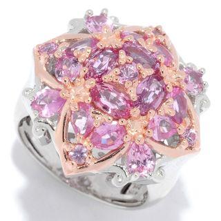 Michael Valitutti Palladium Silver Multi Stone Pink Sapphire Quatrefoil Cocktail Ring