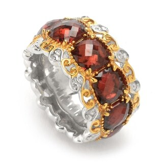 Michael Valitutti Palladium Silver Checkerboard Cut Mozambique Garnet Eternity Band Ring