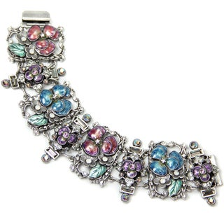 Sweet Romance Enamel Pansies Retro Bracelet