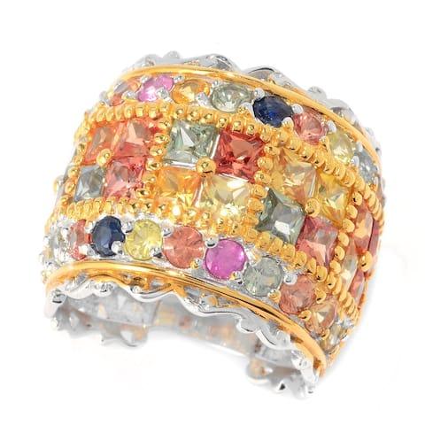 Michael Valitutti Palladium Silver Fancy Colored Multi Sapphire Wide Band Ring
