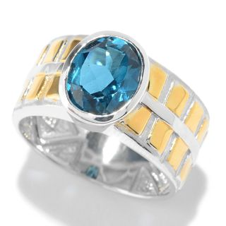 Michael Valitutti Palladium Silver London Blue Topaz Square Textured Wide Band Men's Ring