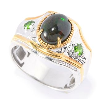 Michael Valitutti Palladium Silver Black Opal and Chrome Diopside Polished Men's Ring
