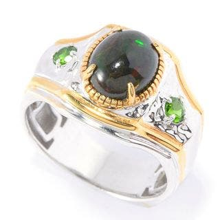 Michael Valitutti Palladium Silver Men's Black Opal and Chrome Diopside Polished Ring|https://ak1.ostkcdn.com/images/products/13454015/P20143377.jpg?impolicy=medium