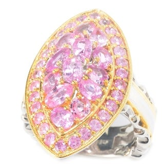 Michael Valitutti Palladium Silver Multi Pink Sapphire Marquise Shaped Cluster Ring