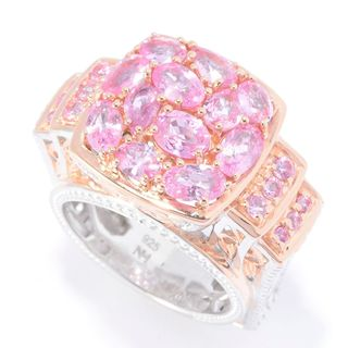 Michael Valitutti Palladium Silver Rose Goldplated Thai Pink Sapphire Ring