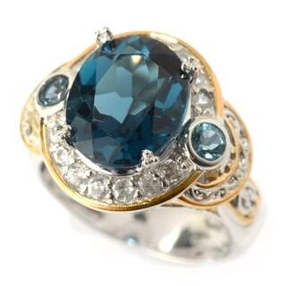 Michael Valitutti Palladium Silver London Blue Topaz and White Zircon Halo Ring
