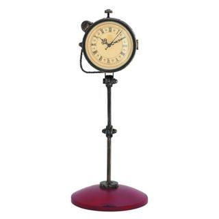 Benzara Black and Pink Metal Table Clock