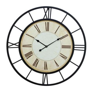 Beznara Black and White Metal 37-inch Wall Clock