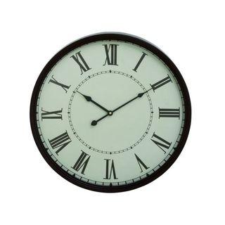 Benzara White Black Metal 20-inch Wall Clock